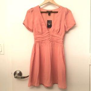 Button-Accented Peach Dress